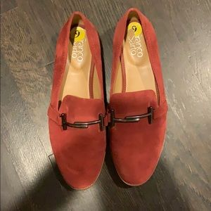 Franco Sarto red suede shoes size 9